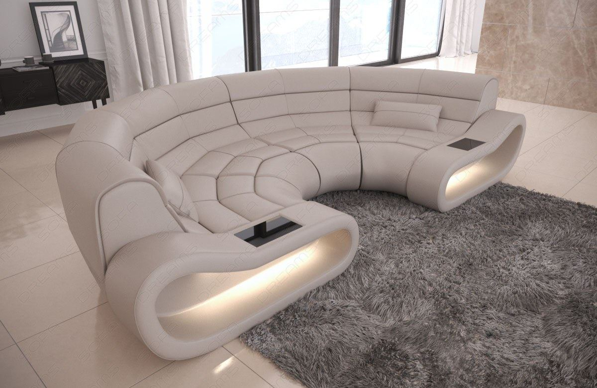 Sectional Corner Sofa Concept C Shape with LED genuine leather ...
