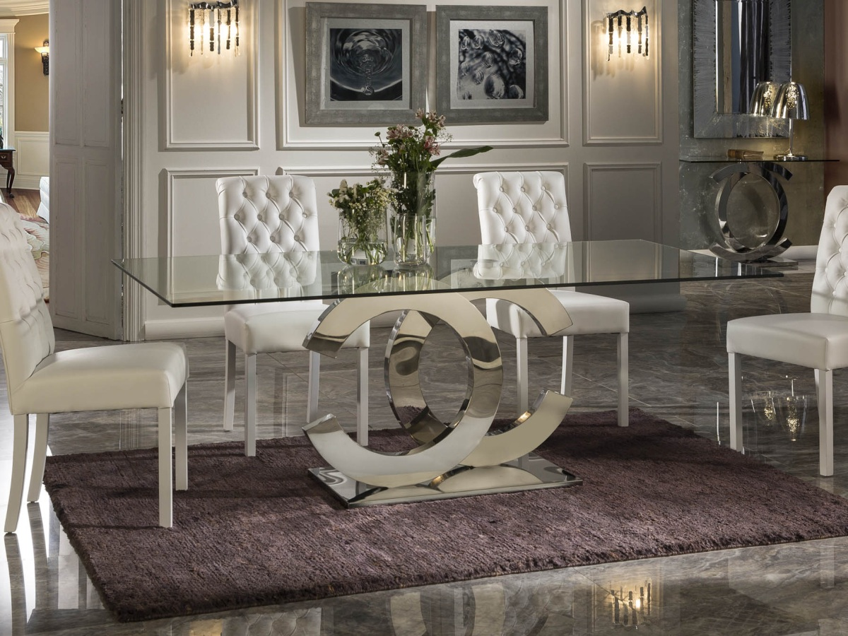 Details zu Esstisch Tisch Designertisch Glasplatte CALIMA Luxus Edelstahl Küche Esszimmer