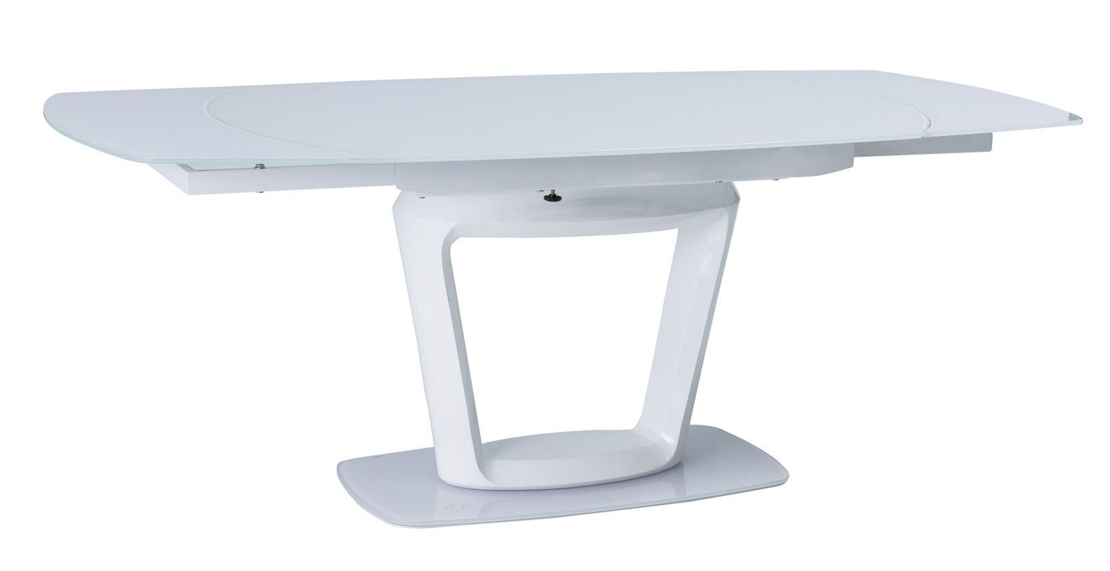 Esstisch claudio mit runder milchglassplatte design tisch for Esstisch ausklappbar