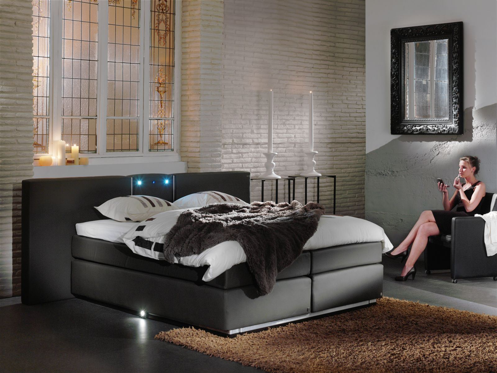 design boxspringbett oxford luxus hotelbett hochwertig gestepptes kopfteil ebay. Black Bedroom Furniture Sets. Home Design Ideas