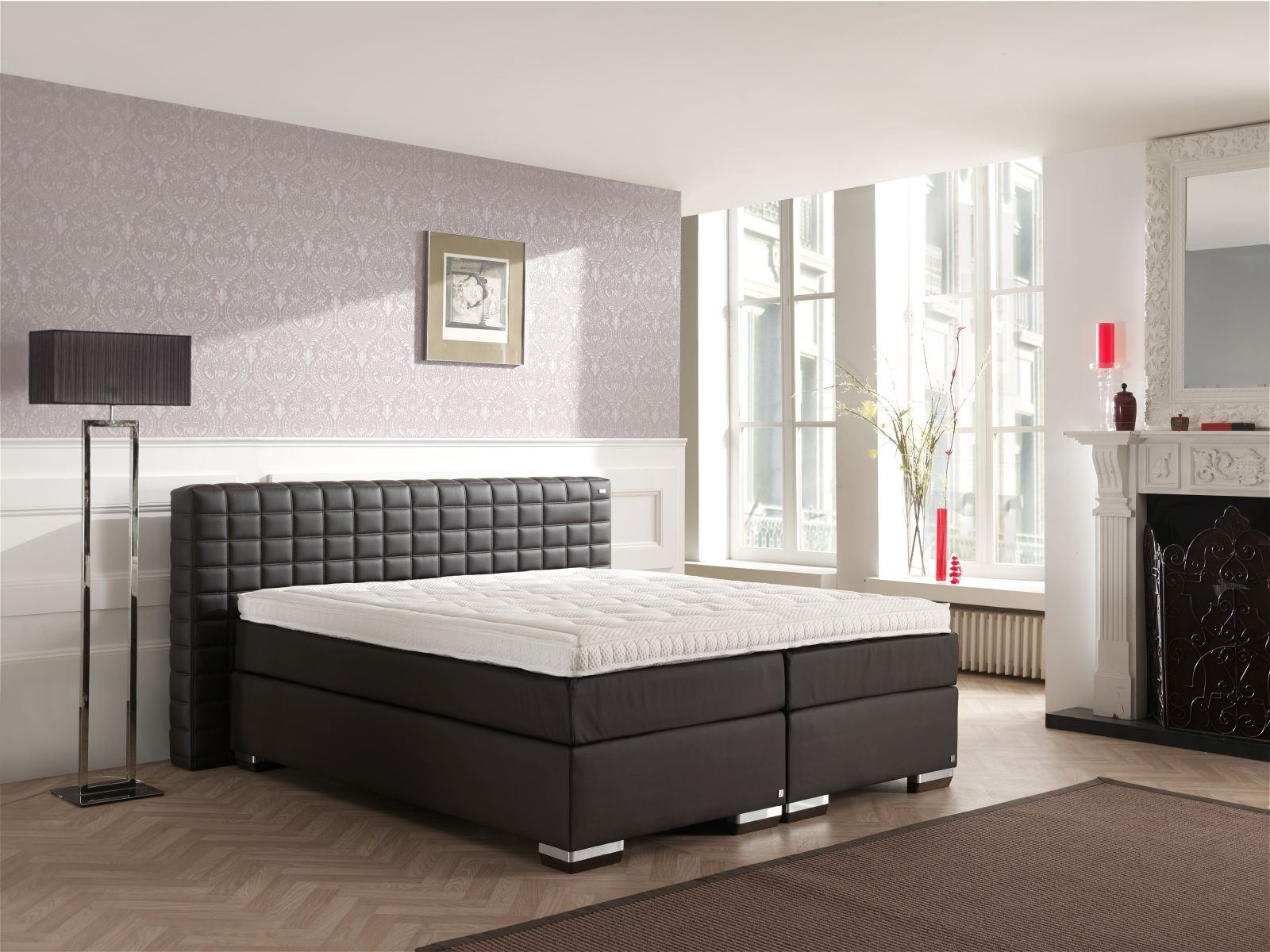hotelbett luxus boxspringbett komplettes bett brixton kopfteil gesteppt farbwahl ebay. Black Bedroom Furniture Sets. Home Design Ideas