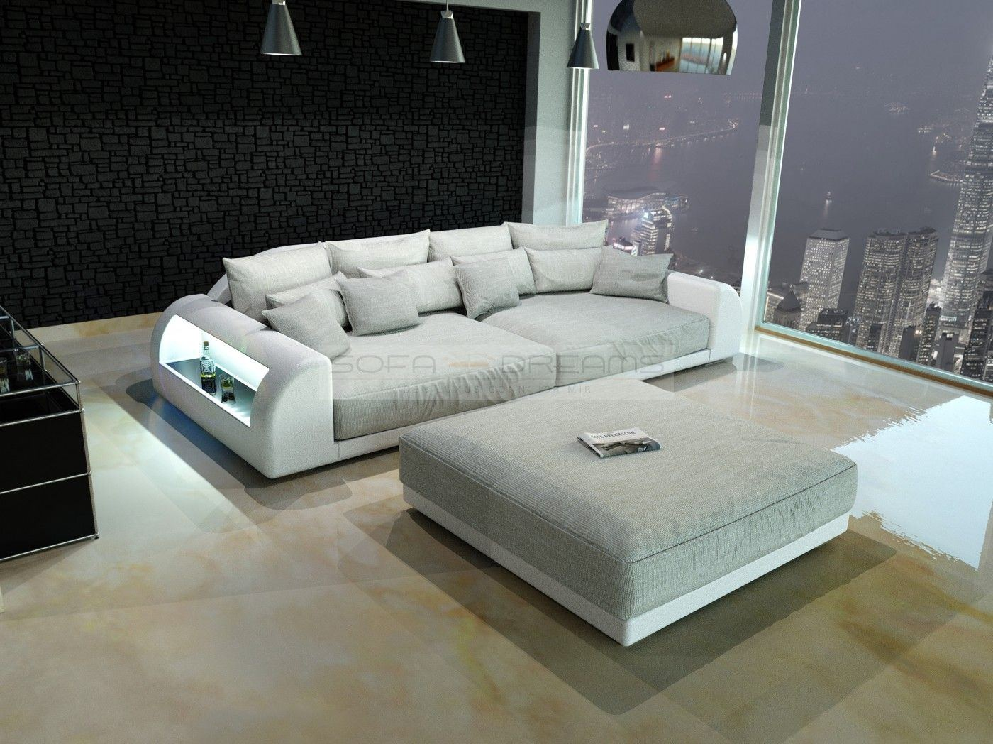 Xxl big sofa miami megasofa with illumination big sofa mega couch ebay Big sofa hocker