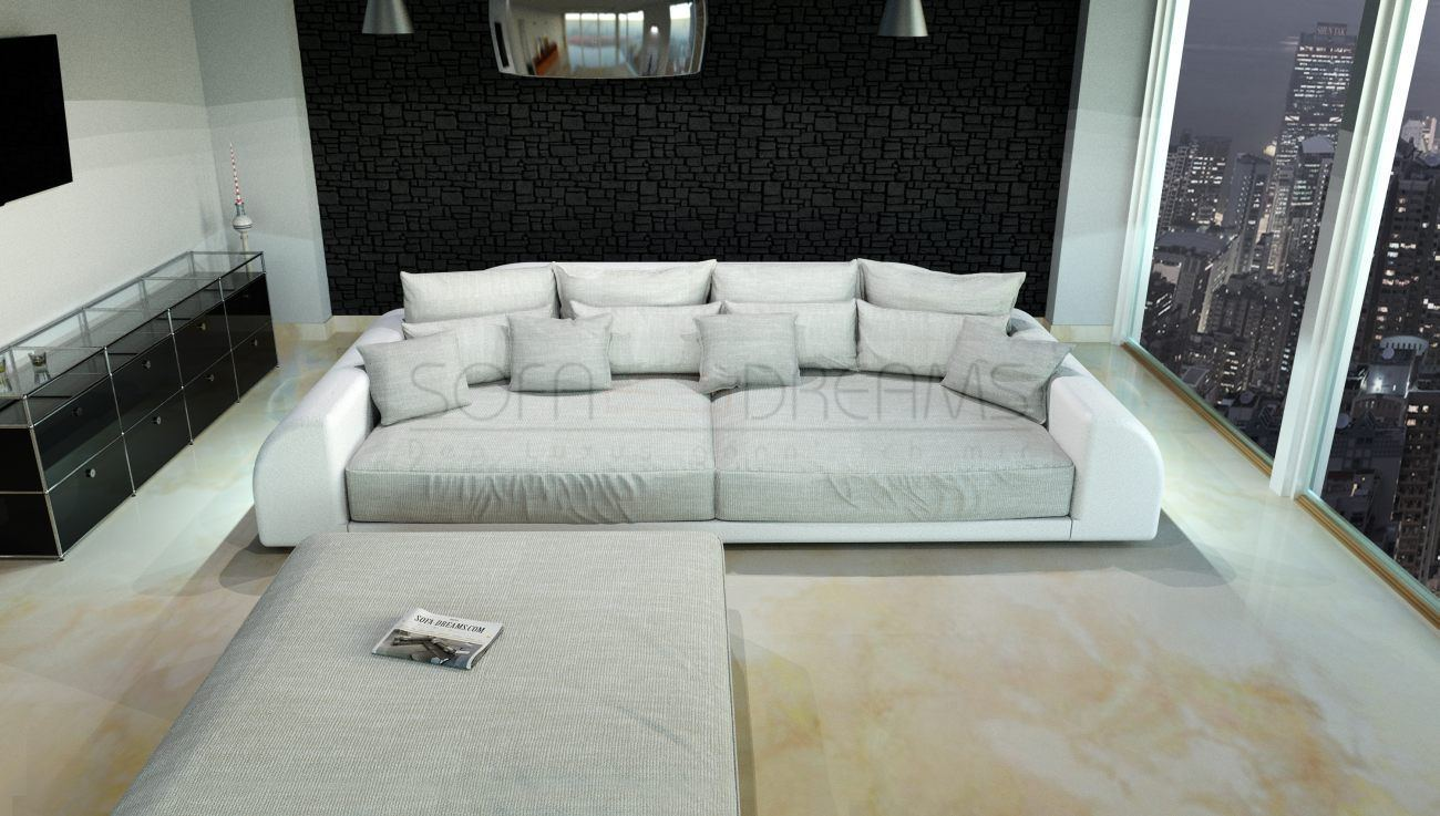 XXL Big Sofa Miami Megasofa With Illumination Big Sofa  -> Ecksofa Leder Mit Hocker