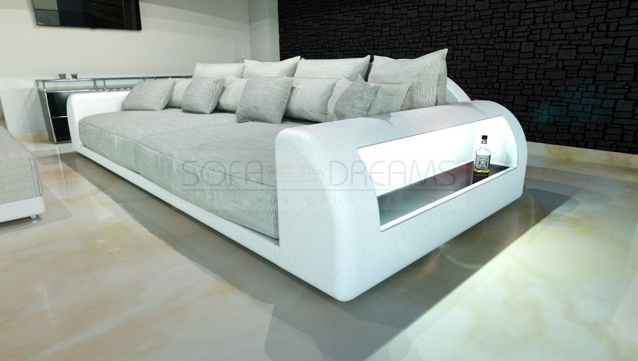 xxl big sofa miami megasofa with lighting bigsofa mega couch ebay. Black Bedroom Furniture Sets. Home Design Ideas