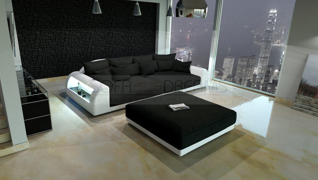 xxl big sofa miami megasofa with lighting bigsofa mega couch | ebay - Schwarz Wei Sofa