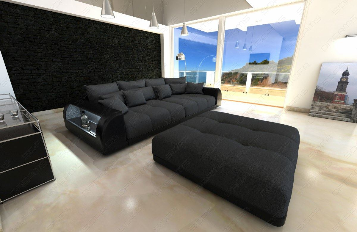 big sofa miami xxl stoffsofa dunkelgrau mit led und hocker ebay. Black Bedroom Furniture Sets. Home Design Ideas