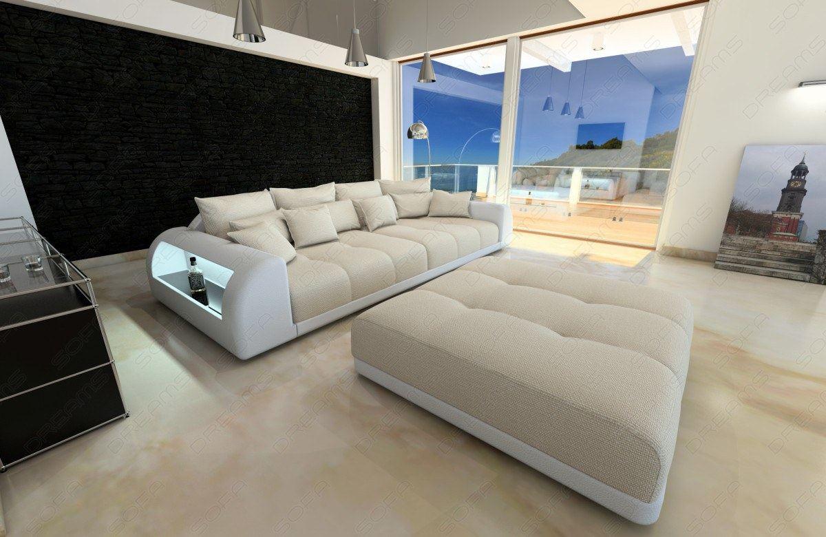 bigsofa materialmix miami xxl mit hocker und led beleuchtung ebay. Black Bedroom Furniture Sets. Home Design Ideas