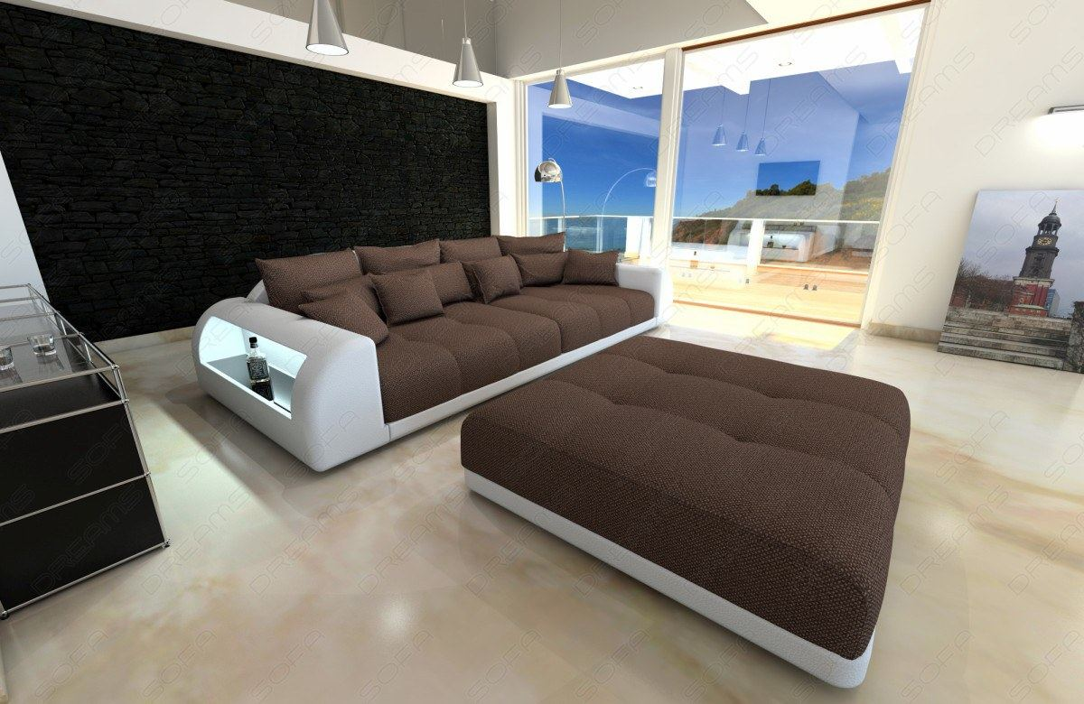 big sofa miami with lighting megasofa xxl bigsofa mega fabric couch ebay. Black Bedroom Furniture Sets. Home Design Ideas
