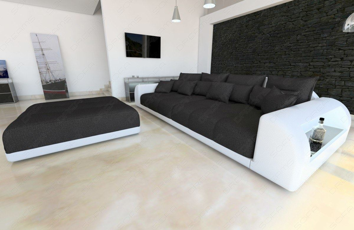 bigsofa design miami mit hocker xxl strukturstoff stoffsofa schwarz ebay. Black Bedroom Furniture Sets. Home Design Ideas