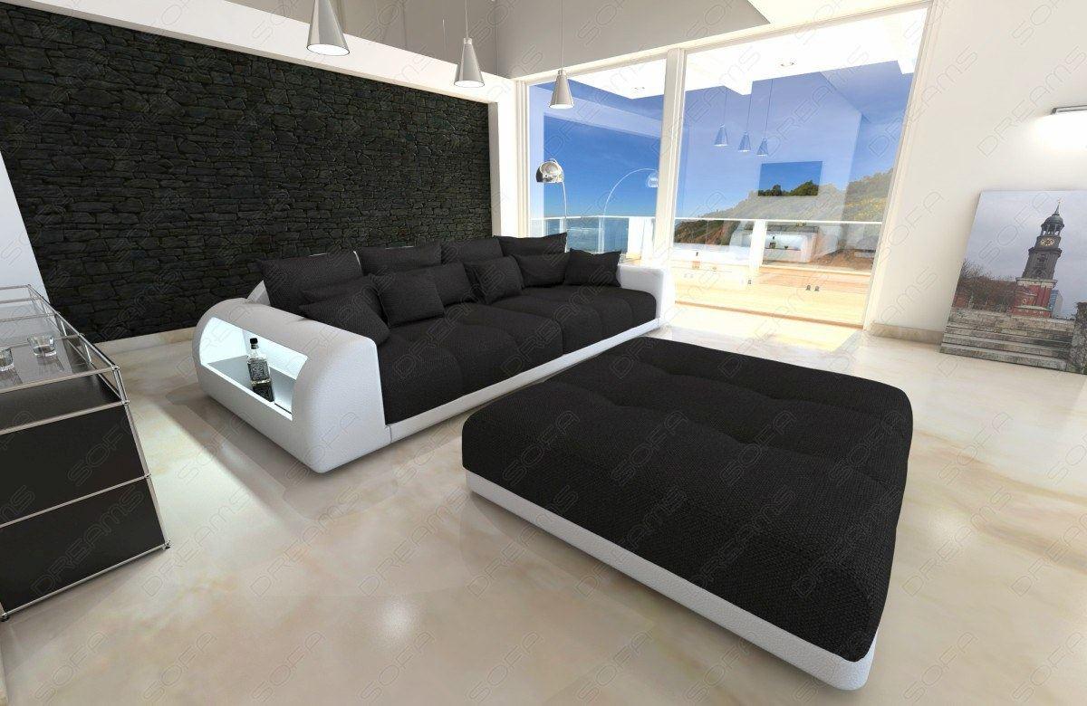 bigsofa design miami mit hocker xxl strukturstoff stoffsofa schwarz ebay. Black Bedroom Furniture Sets. Home Design Ideas