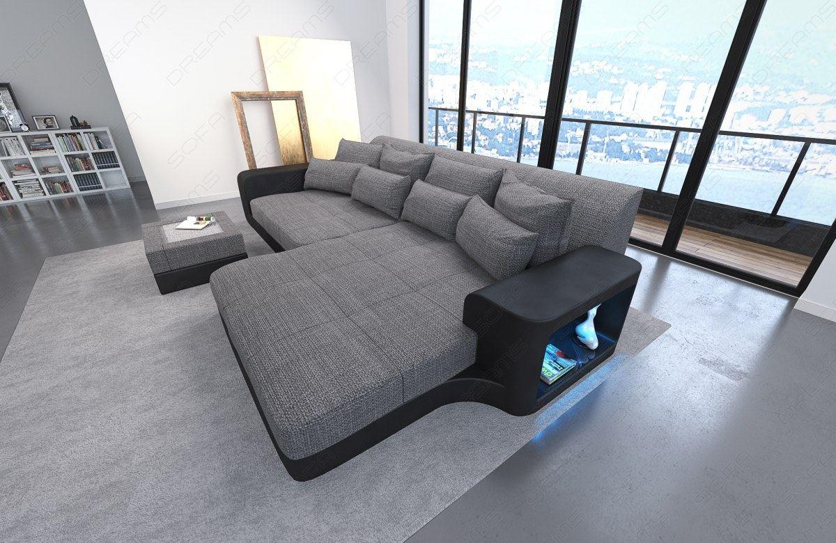 bigsofa megasofa eck couch milano led leder stoff materialmix ecksofa designsofa ebay. Black Bedroom Furniture Sets. Home Design Ideas