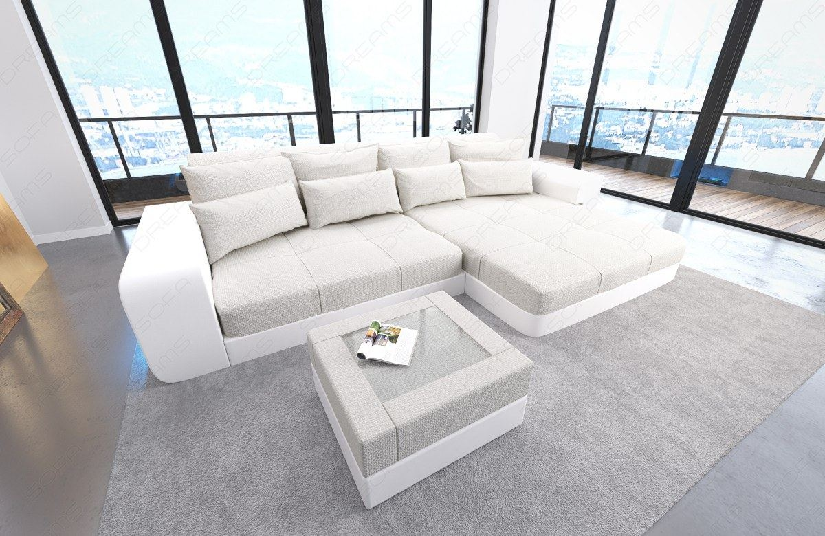 bigsofa design megasofa luxus eck couch milano led leder stoff materialmix weiss ebay