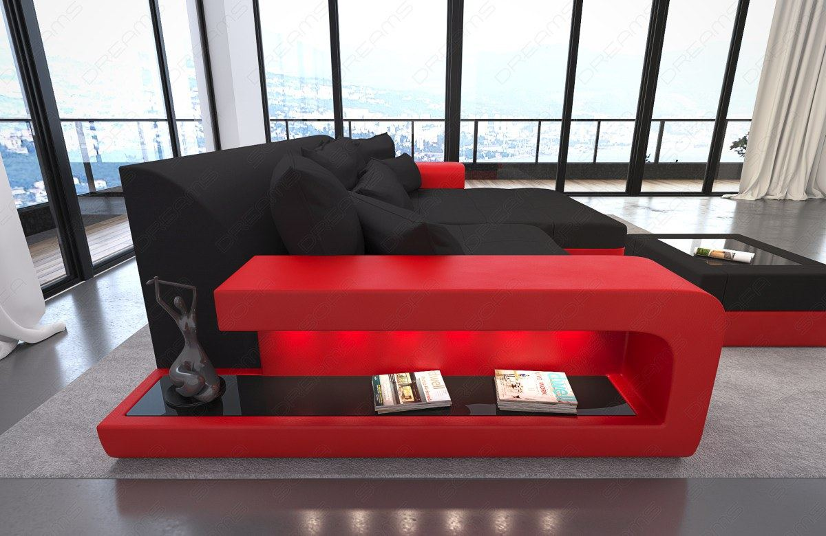 bigsofa megasofa corner couch milano led leather fabric. Black Bedroom Furniture Sets. Home Design Ideas