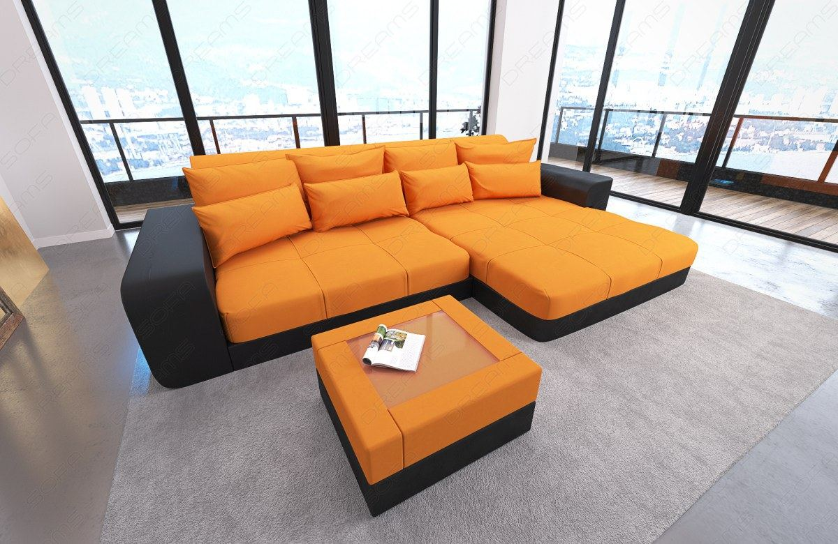 big sofa megasofa sectional sofa bed milano led lights colour selection ebay. Black Bedroom Furniture Sets. Home Design Ideas