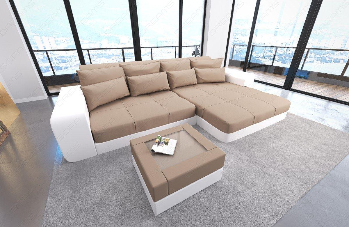 couchgarnitur ecksofa ledersofa stoffsofa big sofa xxl megasofa milano leds ebay. Black Bedroom Furniture Sets. Home Design Ideas