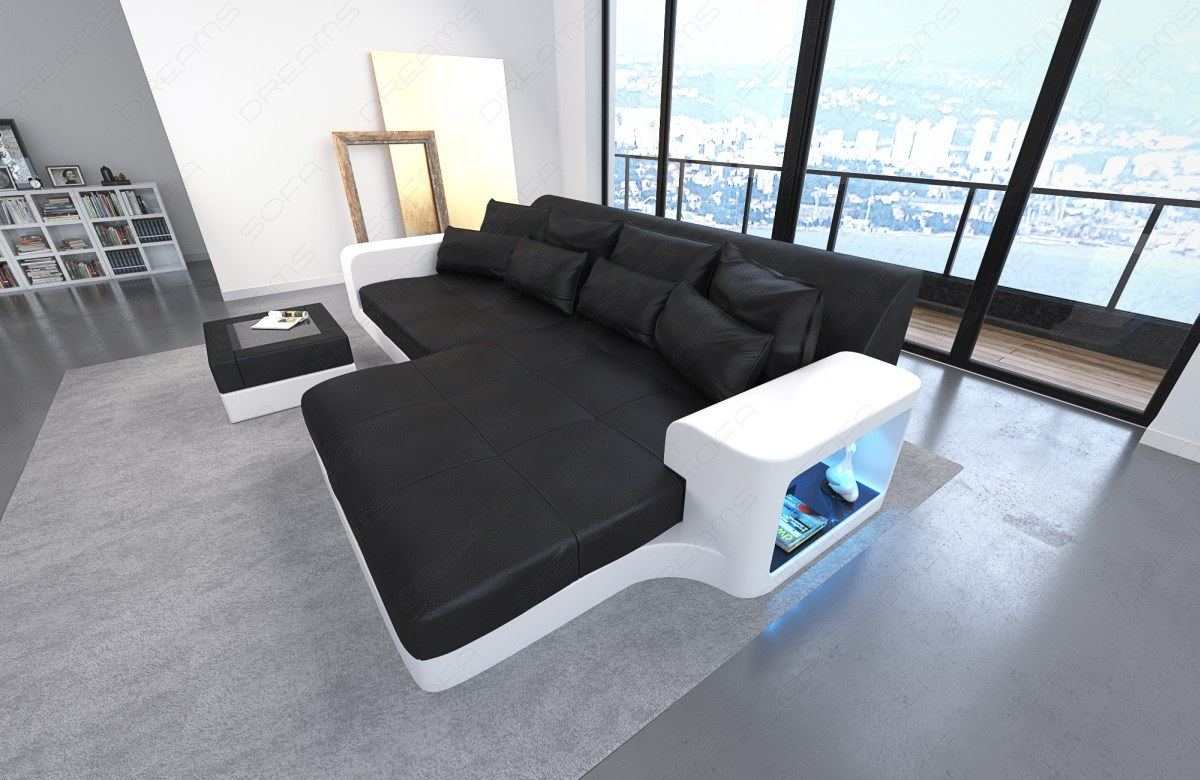 Big Sofa Leather Sofa Milano With Led Lights Sectional Corner Sofa Color Select Ebay