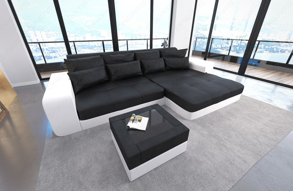 bigsofa leder megasofa lounge milano mit led beleuchtung schwarz weiss ebay. Black Bedroom Furniture Sets. Home Design Ideas