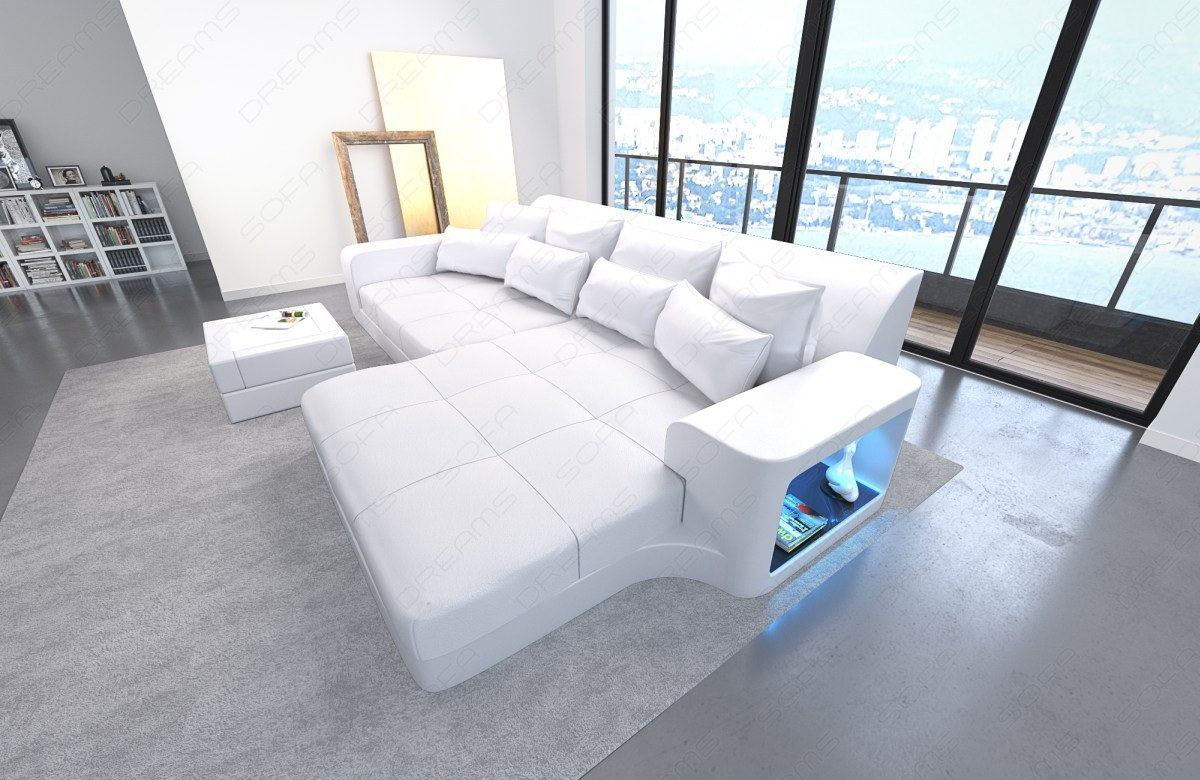 bigsofa leder megasofa lounge milano mit led beleuchtung weiss weiss ebay. Black Bedroom Furniture Sets. Home Design Ideas