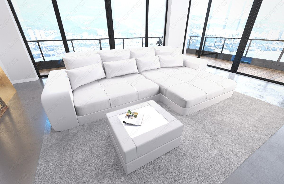 Bigsofa Leather Megasofa Lounge Milano With Led Lighting White White Ebay