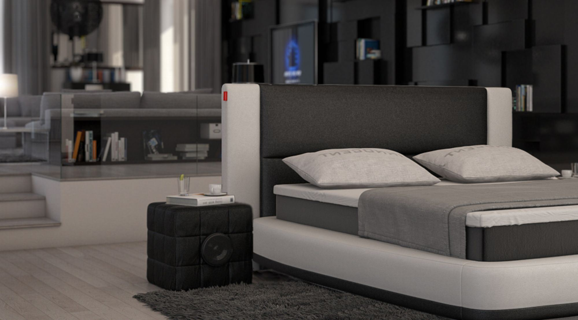 box spring bed aquila design upholstered bed designerbett two colour ebay. Black Bedroom Furniture Sets. Home Design Ideas