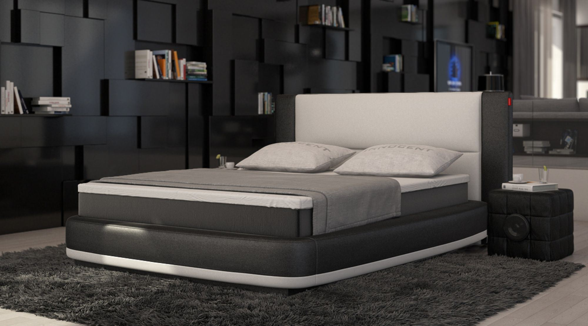 box spring bed aquila design upholstered bed designerbett two colour. Black Bedroom Furniture Sets. Home Design Ideas
