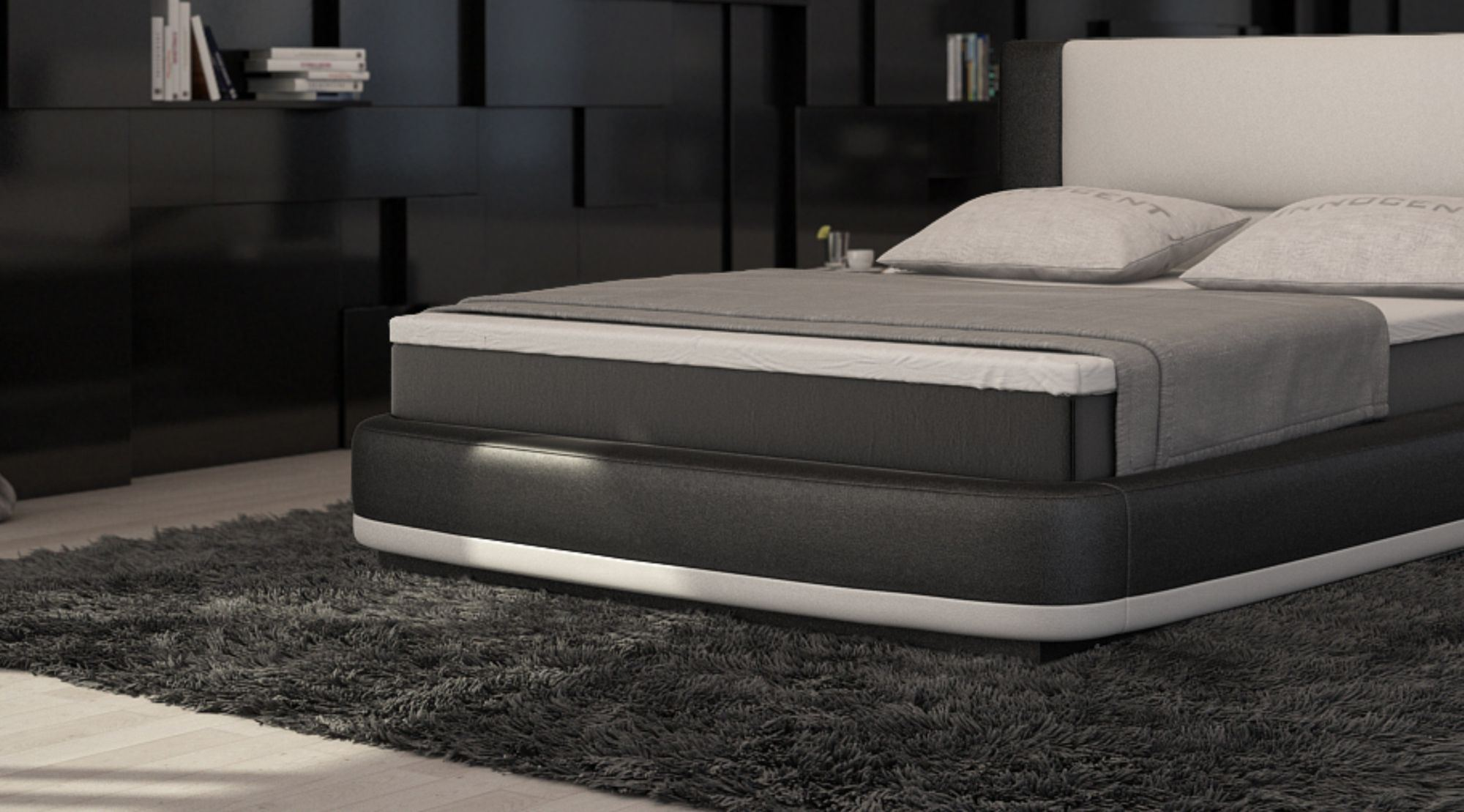 boxspringbett aquila design polsterbett designerbett zweifarbig ebay. Black Bedroom Furniture Sets. Home Design Ideas