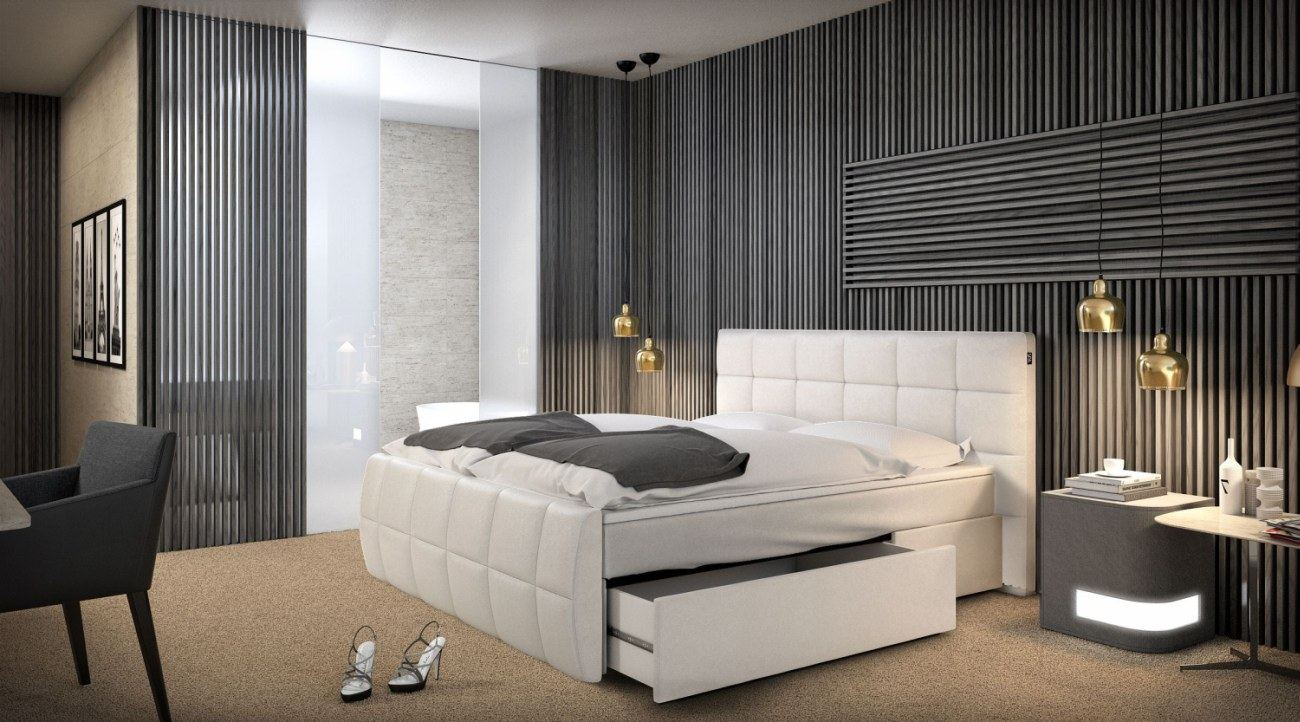 boxspringbett berlin weiss mit schubfach stauraum design polsterbett luxusbett. Black Bedroom Furniture Sets. Home Design Ideas