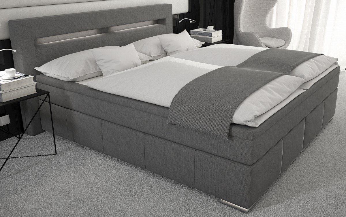 boxspringbett essen doppelbett led beleuchtung designerbett ehebett polsterbett ebay. Black Bedroom Furniture Sets. Home Design Ideas