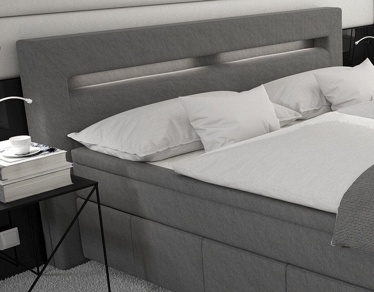 boxspringbett essen luxus bett led beleuchtung designerbett ehebett polsterbett ebay. Black Bedroom Furniture Sets. Home Design Ideas