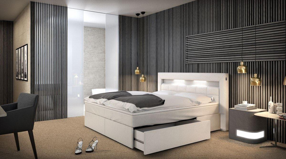 boxspringbett m nchen weiss mit beleuchtung und schubfach. Black Bedroom Furniture Sets. Home Design Ideas