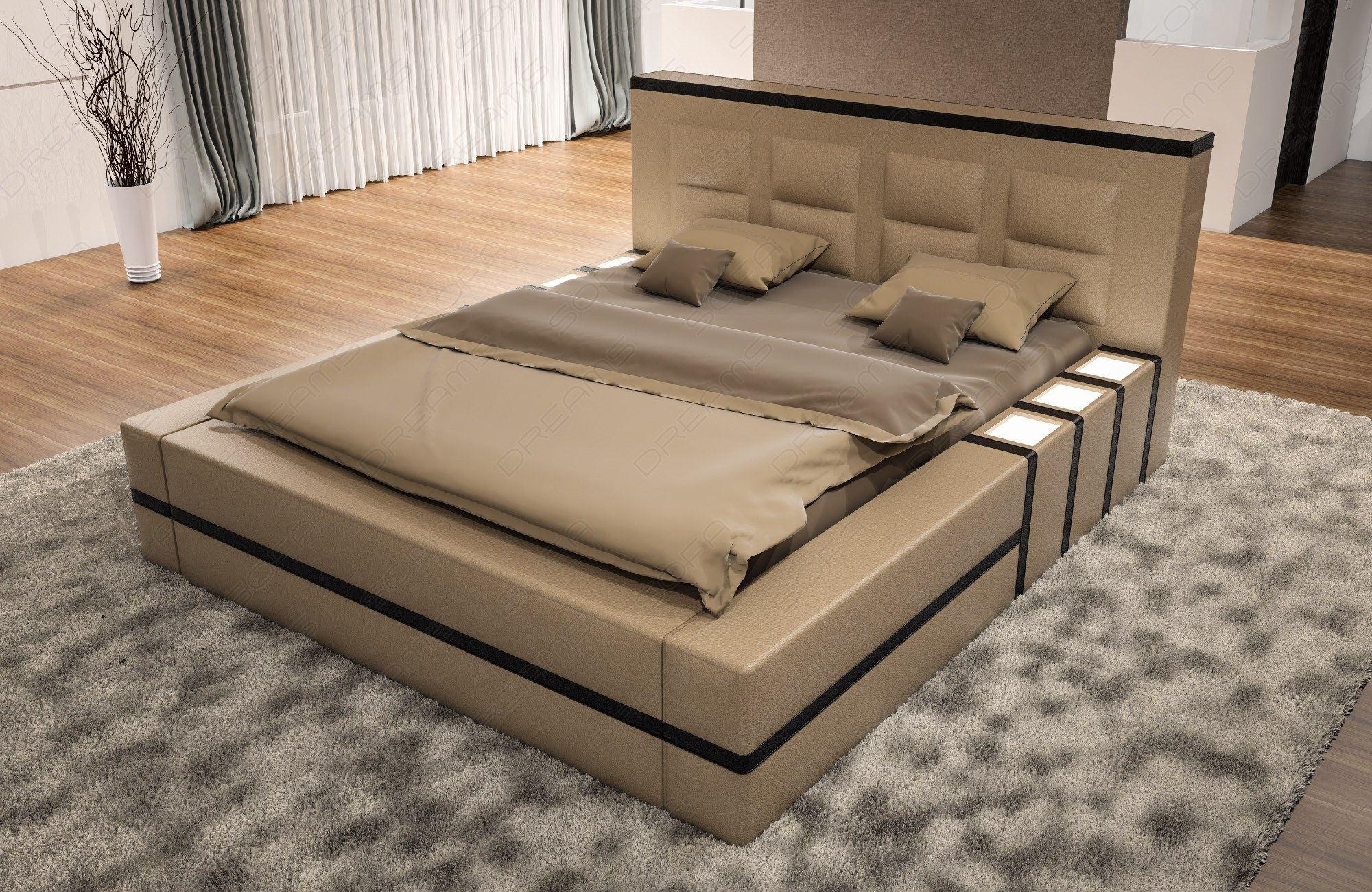 polsterbett design asti mit beleuchtung ehebett. Black Bedroom Furniture Sets. Home Design Ideas
