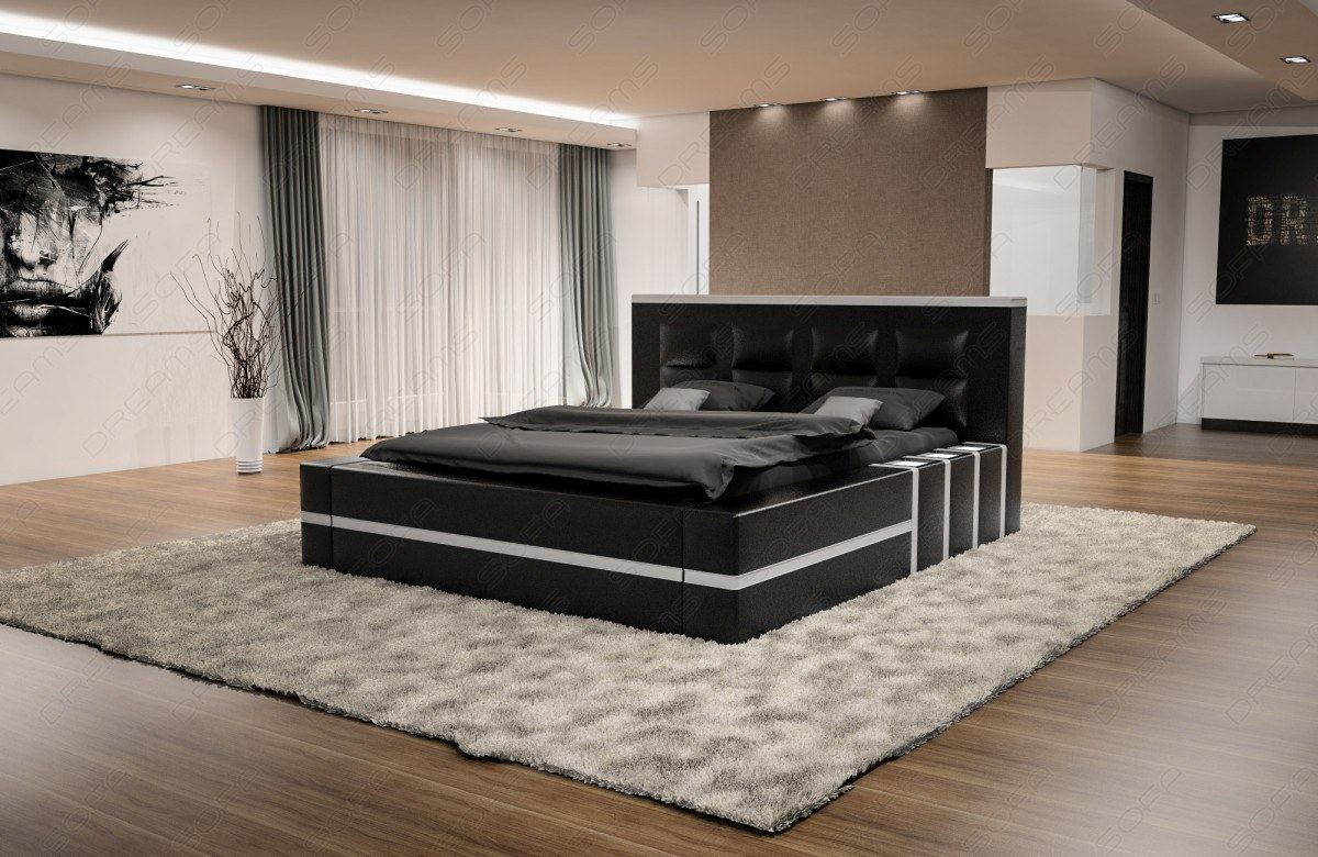 design wasserbett asti komplett set schwarz beleuchtung. Black Bedroom Furniture Sets. Home Design Ideas