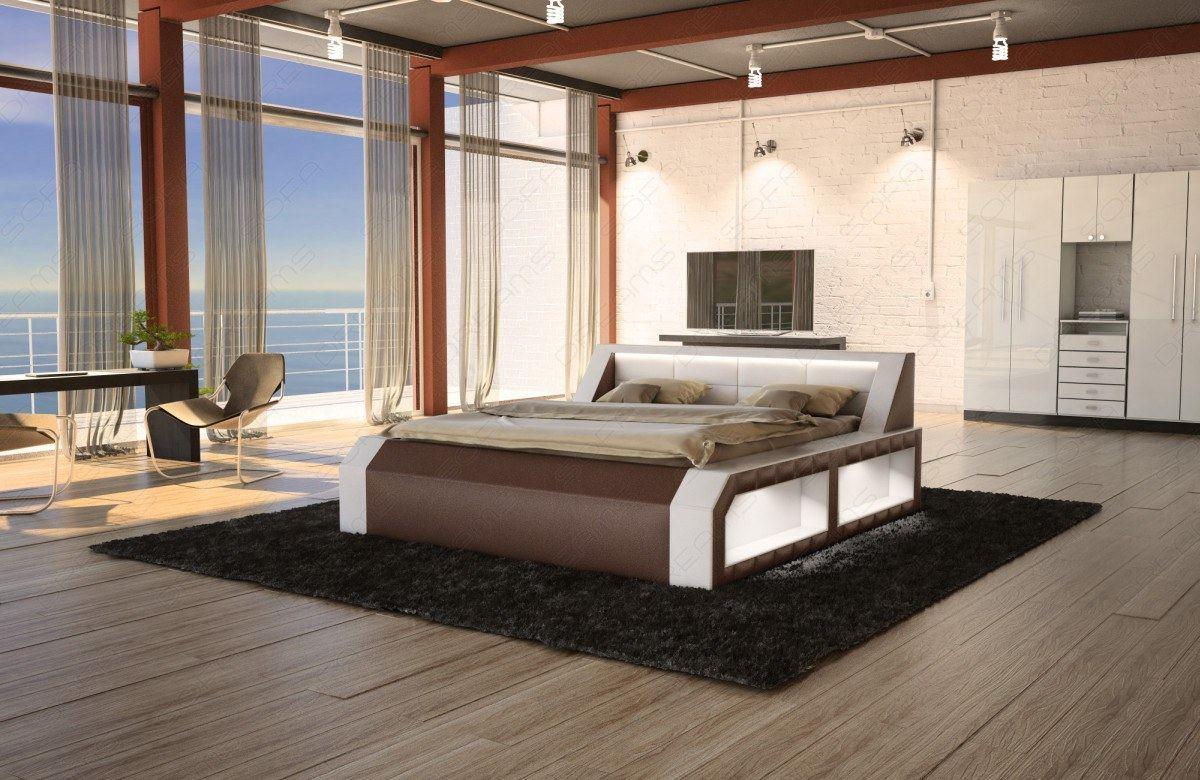 hotelbett design lederbett boxspringbett matera mit led beleuchtung komplettbett ebay