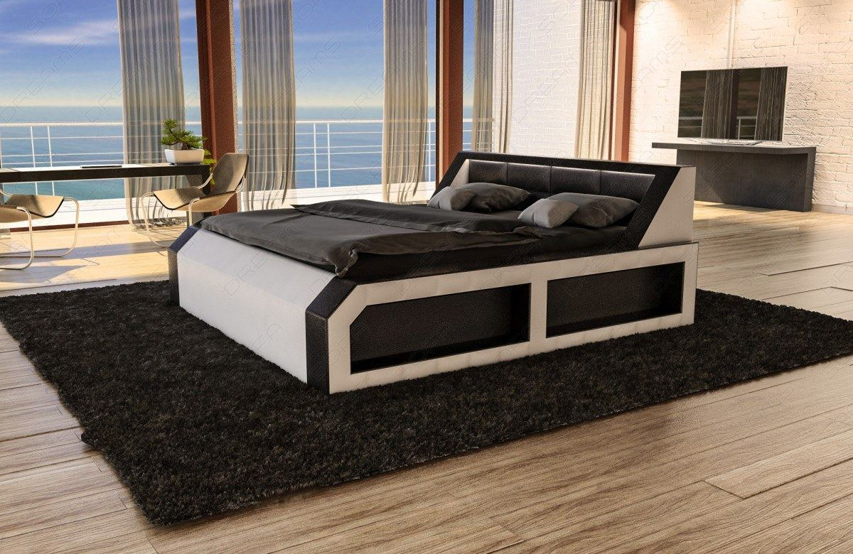 designerbett matera mit beleuchtung polsterbett doppelbett 160 180 200 220 ebay. Black Bedroom Furniture Sets. Home Design Ideas