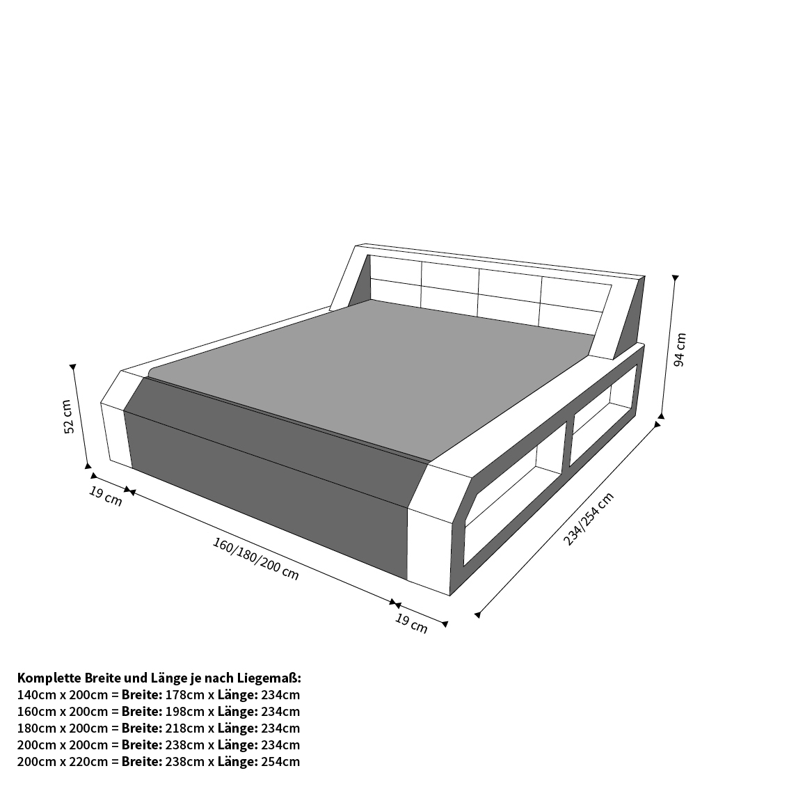 hotelbett design boxspringbett matera mit beleuchtung komplettbett ebay. Black Bedroom Furniture Sets. Home Design Ideas
