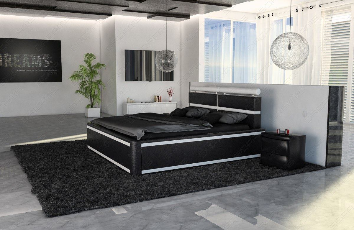 polsterbett venedig mit beleuchtung designerbett 160 180 200 220 ebay. Black Bedroom Furniture Sets. Home Design Ideas