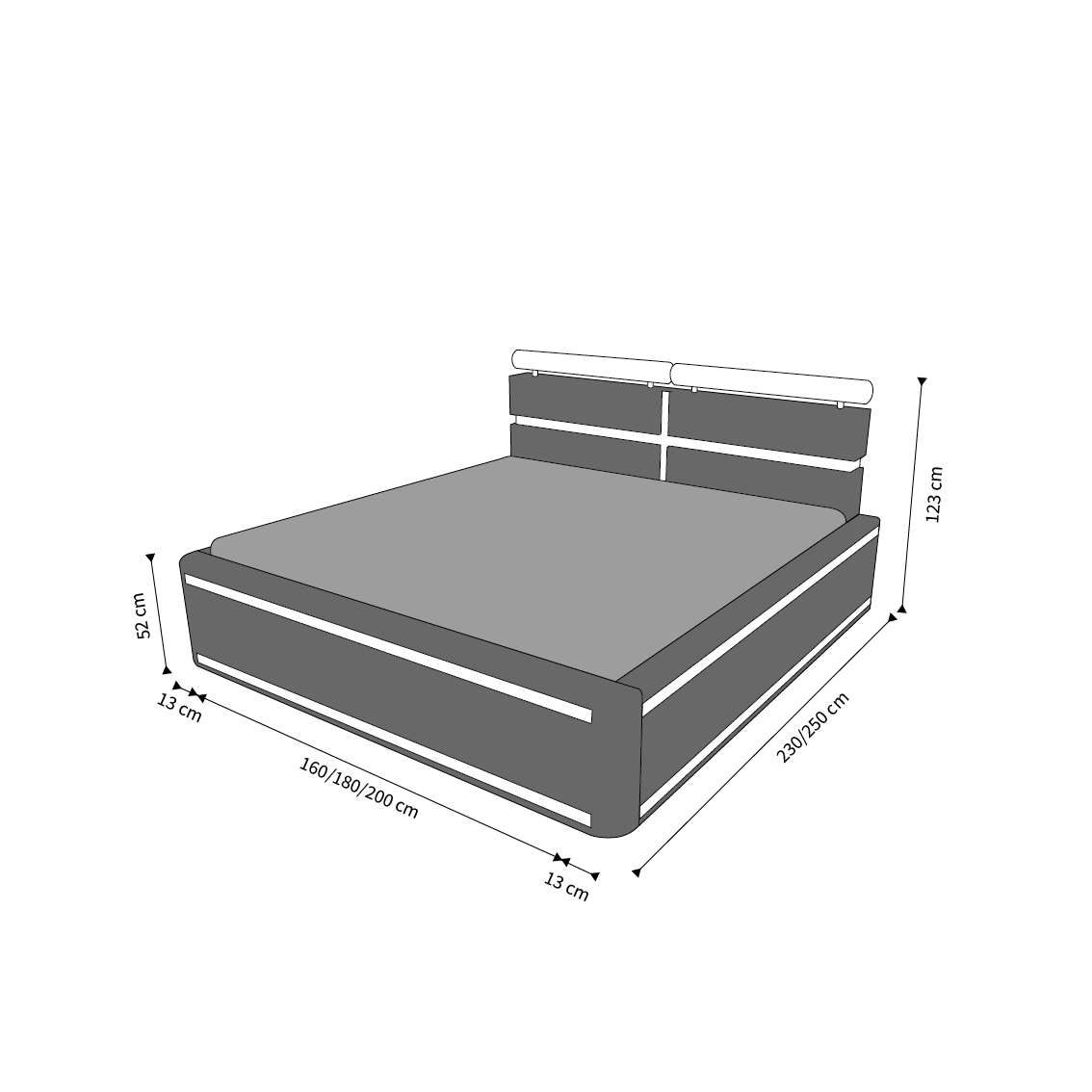 boxspringbett hotelbett design venedig luxus komplettbett doppelbett ehebett ebay. Black Bedroom Furniture Sets. Home Design Ideas