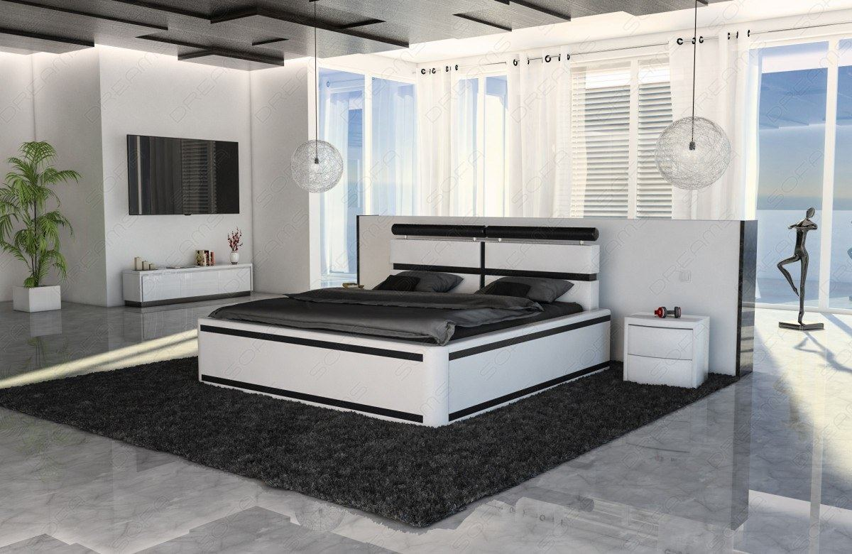 wasserbett design venedig mit beleuchtung komplett set weiss lagerware ebay. Black Bedroom Furniture Sets. Home Design Ideas