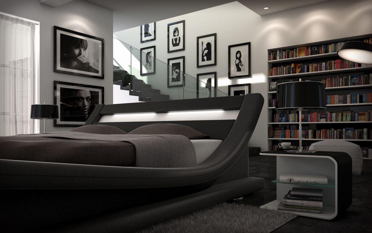 lederbett design caserta beleuchtung polsterbett. Black Bedroom Furniture Sets. Home Design Ideas