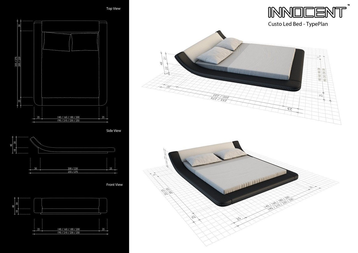 polsterbett luxus bett custo led designerbett mit led. Black Bedroom Furniture Sets. Home Design Ideas