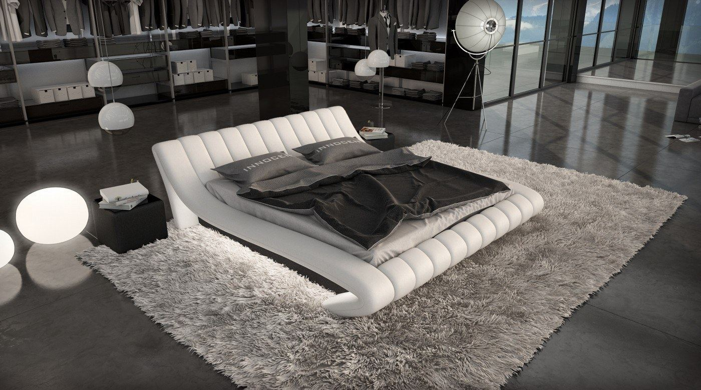 designerbett lederbett ferrara mit led edeles luxus polsterbett futon design ebay. Black Bedroom Furniture Sets. Home Design Ideas