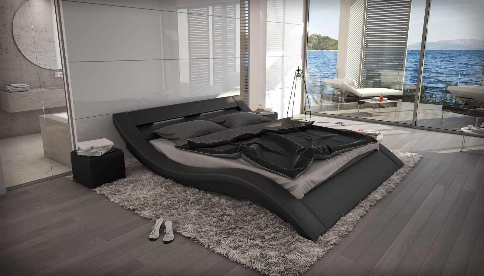designerbett massa mit beleuchtung design polsterbett. Black Bedroom Furniture Sets. Home Design Ideas