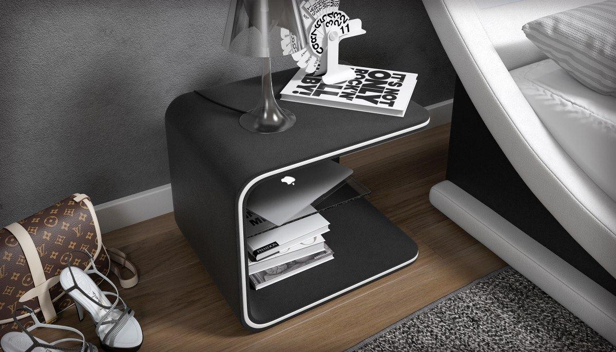 nachttisch nachtschrank beistelltisch glow mit led. Black Bedroom Furniture Sets. Home Design Ideas