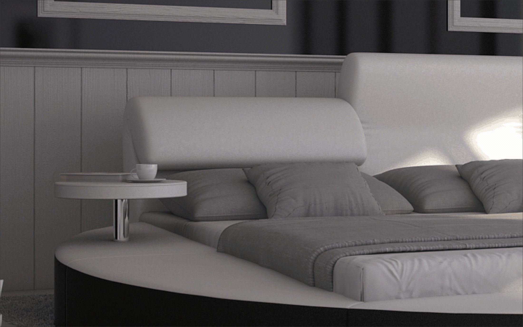 wasserbett rundbett napoli komplett set dualsystem design kaufen bei. Black Bedroom Furniture Sets. Home Design Ideas