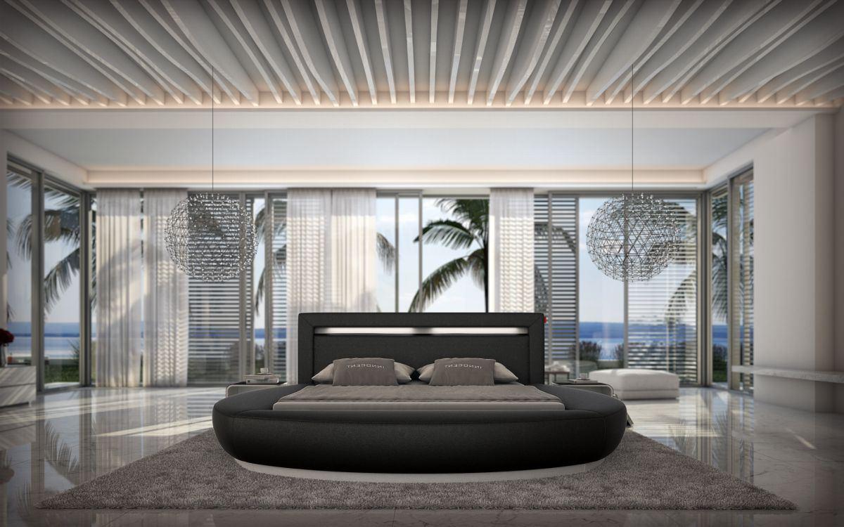 letto ad acqua letto rotondo riva nero set completo con. Black Bedroom Furniture Sets. Home Design Ideas