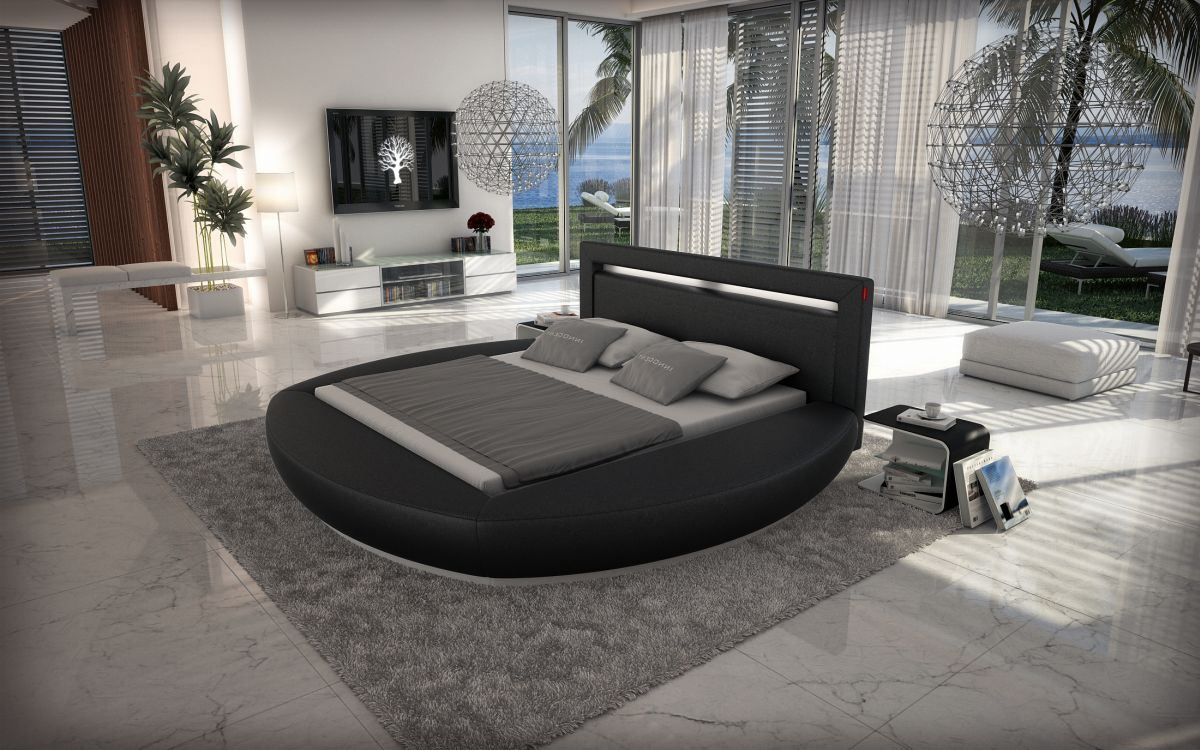 waterbed circular bed riva black complete set with lighting. Black Bedroom Furniture Sets. Home Design Ideas