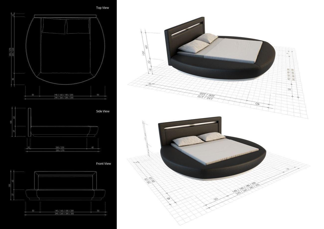 round bed designer riva with led lighting ebay. Black Bedroom Furniture Sets. Home Design Ideas