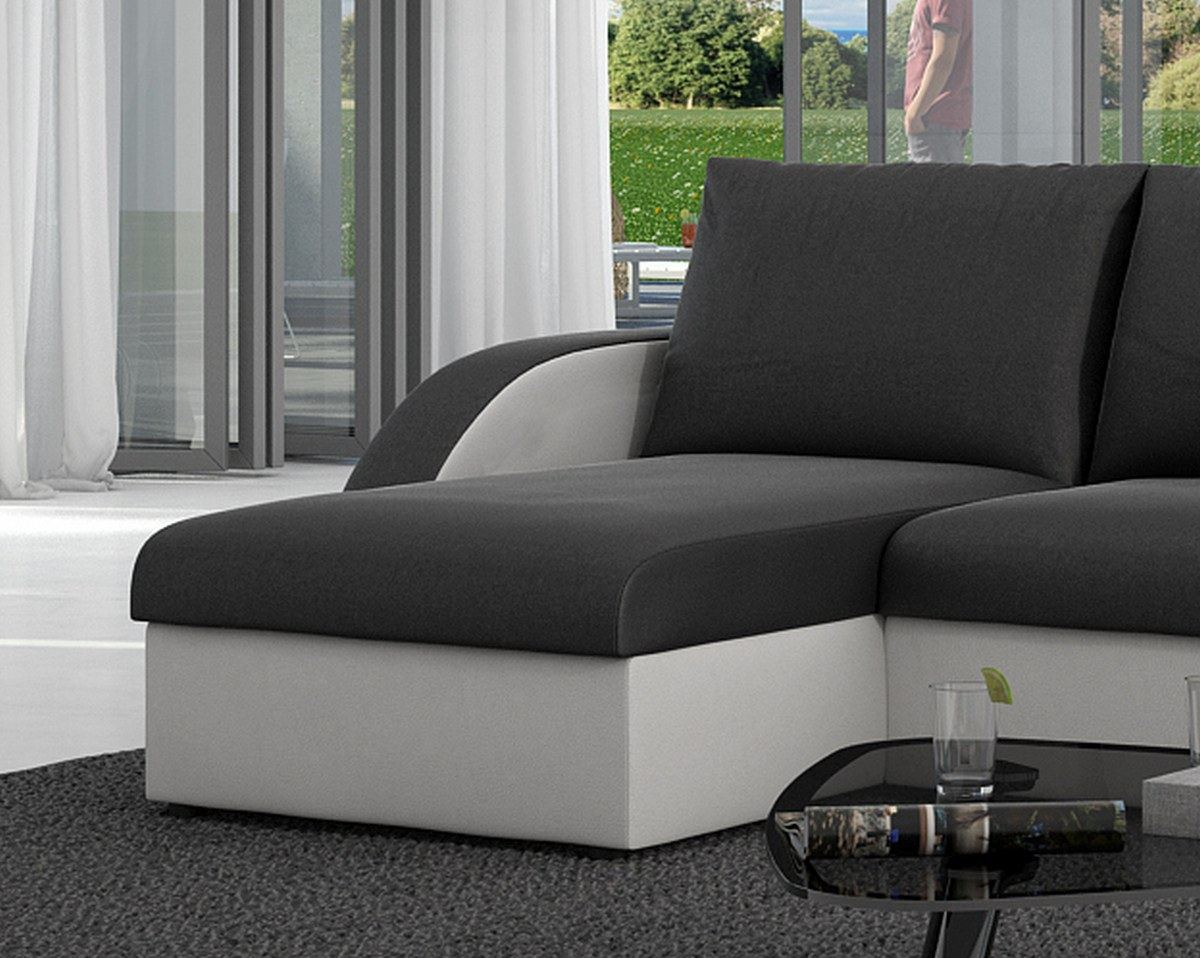 schlafsofa ecksofa schwarz o weiss adagio mit led. Black Bedroom Furniture Sets. Home Design Ideas