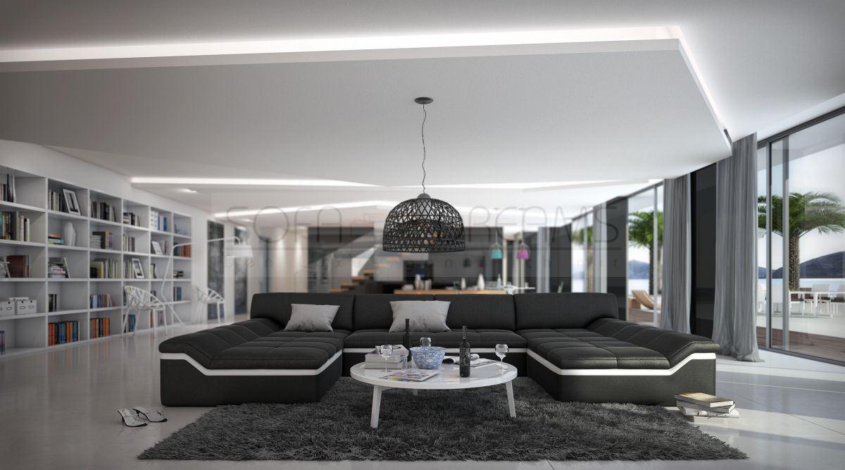 moderne wohnlandschaft barari u form sofa design couch relaxsofa ebay. Black Bedroom Furniture Sets. Home Design Ideas