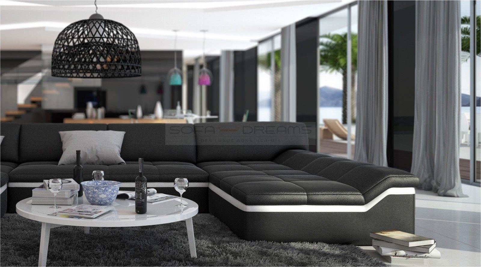 Couch u form modern  MODERNE WOHNLANDSCHAFT BARARI U FORM SOFA DESIGN COUCH RELAXSOFA ...